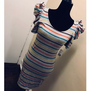 Forever 21 Stretch Puff Sleeve Striped Dress